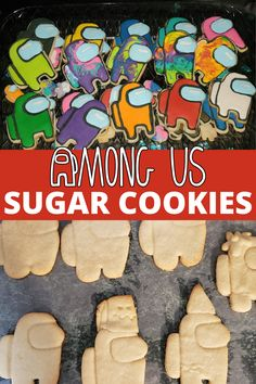 Among Us Cookies! Fans of the game app Among Us are sure to love these sugar cookies! Be sure to share with all your crewmates (and don't let the imposter get them)! Delicious Cookie Recipes, Easy Cookie Recipes, Best Dessert Recipes, Yummy Cookies, Easy Desserts, Sugar Cookies, Yummy Food, Vegetarian Desserts, Bar Recipes