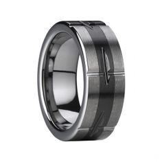 Mens Groove Brushed Finish Tungsten Carbide Wedding ring