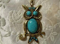 Vintage Inspired Faux Turquoise Owl Pendant ( Mothers Day )