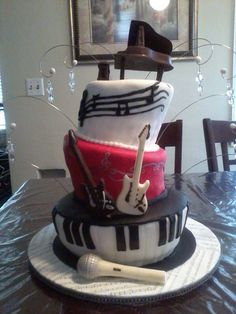 Music Lover Piano Guitar Microphone Note Cake By I LOVE THE CAKE Los Angeles Based Designer And Baker