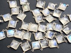 5 Pcs Rainbow Moonstone Rose Cut Square by gemsforjewels on Etsy