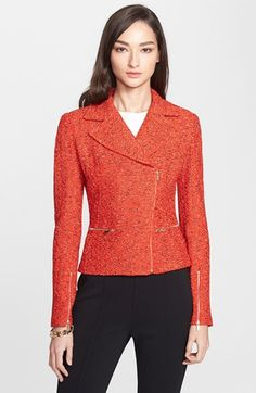 St. John Collection Crinkle Tweed Asymmetrical Moto Jacket available at #Nordstrom