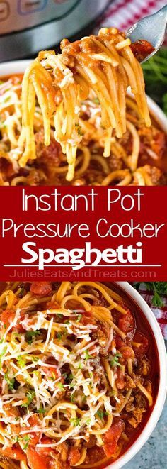 {Instant Pot} Pressure Cooker Spaghetti ~ Quick, Easy Homemade Spaghetti with Meat Sauce Made in Your Pressure Cooker! via @julieseats