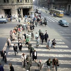 Budapest-Passers-by crossing the pedestrian crossing at Lenin … – World of Light Budapest City, Budapest Hungary, Pedestrian Crossing, Historical Pictures, Transportation, Dolores Park, Arch, Street View, History