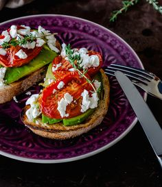 Slow roasted tomatoes with avocado and feta cheese