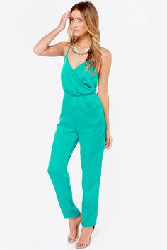 Stick around and enjoy the Let it Linger Teal Jumpsuit! Spaghetti straps linger above a surplice bodice with an elasticized waist creating a stylish shape. Pleated Jumpsuit, Wrap Jumpsuit, Jumpsuit With Sleeves, Jumpsuit Style, White Jumpsuit, Rompers Dressy, Cute Rompers, Cheap Designer Clothes, Teal Fabric