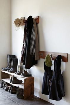 Beautifully simple & rustic outdoor gear storage for home's possible entryway or mud room.