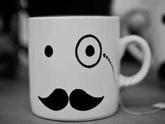 I want this so bad! more obsessed with the mustache merch. Diy Mugs, Diy Sharpie Mug, Le Monocle, Crackpot Café, Moustache Party, Pug Mug, Cute Cups, Cool Mugs, Starbucks Mugs