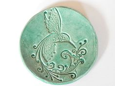 Ceramic Dish with Bird Mint Plate by Ceraminic on Etsy, $11.00