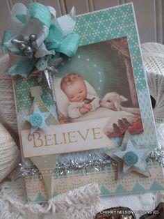 vintage religious Christmas card-BABY JESUS BELIEVE card-handmade Christmas card