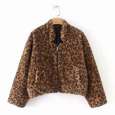 Leopard Faux Fur Fluffy Zipper Women Coat Furry Bomber Jacket Casual Pocket Loose Long Sleeve Short Coats Leopard S Coats For Women, Jackets For Women, Teddy Coat, Brown Leopard, Faux Fur Jacket, Zip Ups, Bomber Jacket, Long Sleeve, Casual