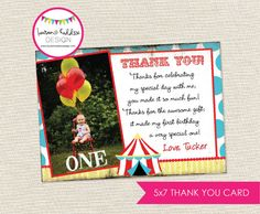 DIY Circus Photo Thank You Cards by LaurenHaddoxDesign on Etsy, $10.00