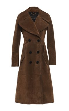 Suede Revere Collar Coat by BURBERRY Now Available on Moda Operandi