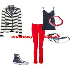 To complete: black striped blazer, navy converse Blue Converse Shoes, Converse All Star, Cheap Converse, What Should I Wear Today, All Star Shoes, Got The Look, Red Pants, Future Fashion, Striped Cardigan