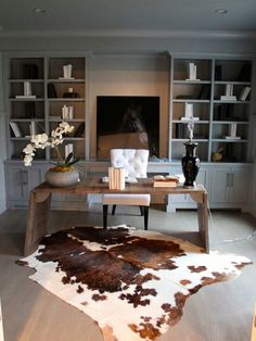 Replace the chair with something larger and darker and this could be a great office for a man!
