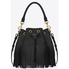 Saint Laurent Classic Medium Emmanuelle Fringed Bucket Bag In Black Leather ($2,690) found on Polyvore featuring bags, handbags, bolsas, purses, black, fringe purse, yves saint laurent handbags, leather fringe handbag, leather fringe purse and leather handbags