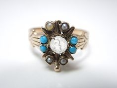 Victorian Moonstone Owl Pearl and Turquoise by AJMartinJewelry