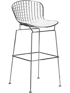 Poly and Bark Bertie Style Wire Bar Stool, White ❤ Poly and Bark