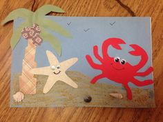 Starfish & crab cut out arts crafts picture
