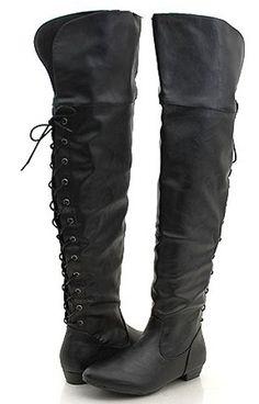 Pirate Thigh High Back Lace Biker Boots Women