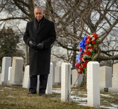 NASA Administrator Charles Bolden participates in a wreath laying ceremony as part of NASA's Day of Remembrance, Friday, Jan. 31, 2014, at A...
