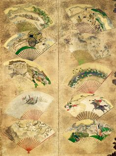 Fans, attributed to Tawaraya Sotatsu, Edo period, century, eight-panel screen. color on paper - Tokyo National Museum Japanese Painting, Chinese Painting, Japanese Screen, Edo Period, Japan Art, Japanese Artists, National Museum, Japanese Culture, Woodblock Print