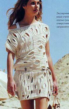 """Vestido-túnica con un patrón interesante posee radios con un patrón interesante """"transversal"""".  esquema de tejido de punto"""