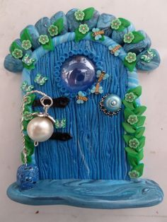 shades of blue fairy / pixie door