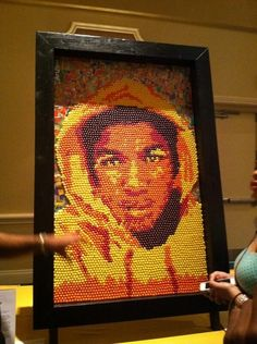 25 Works Of Art Paying Tribute To Trayvon Martin- Trayvon Martin portrait made out of skittles and iced tea wrappers