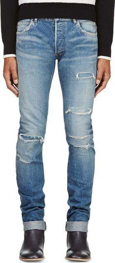 Shared via Mod Man: Balmain Blue Distressed Slim Jeans http://www.