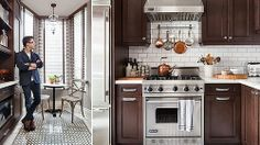white backsplash and dark cabinets | Dark wood cabinets with white backsplash - ... | kitchen and dining a ...