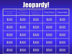 Free- Math Jeopardy For Grade 3 3rd Grade Reading, Third Grade Math, Grade 3, 4th Grade Math Games, Fourth Grade, Second Grade, 3rd Grade Classroom, Math Classroom, Classroom Ideas
