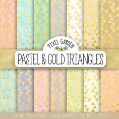 SALE. Gold Triangle Digital Paper. Gold Foil by PixelGardenDesign