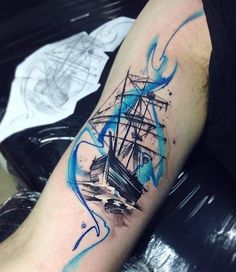 Boat sleeve tattoo - 100 Boat Tattoo Designs