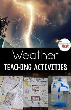 Weather Teaching Activities: Science and reading hands-on activities for students to learn about the different weather patterns. Science Teaching Weather: Activities and Resources - Elementary Nest Teaching Weather, Weather Science, Weather Unit, Weather Activities, Weather And Climate, Teaching Activities, Teaching Science, Science Education, Weather Crafts