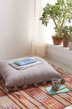 Magical Thinking Hudson Oversized Tassel Pillow - Urban Outfitters Meditation Corner, Meditation Space, Meditation Pillow, Big Pillows, Throw Pillows, Urban Outfitters Home, Zen Room, Ideas Hogar, Floor Seating