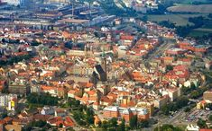An aerial view of Plzeň or Pilsen, Czech Republic Places In Europe, Places To See, Beautiful World, Beautiful Places, Lonely Planet, Aerial View, Slovenia, Travel Destinations, Scenery