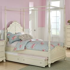 The kind of canopy I'd want for my daughter, but with a covering... Like what I had growing up! - Cinderella Canopy Bed