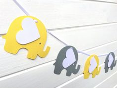 Yellow & Gray Elephant Garland. Baby shower, nursery decor, high chair, birthday party, bunting, banner, dessert table. First birthday party