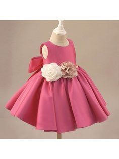 Fuchsia Satin Classic Flower Girl Dress Elegant With Flowers And Bow