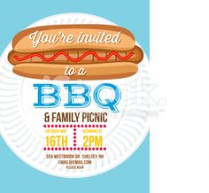 Hamburger Bbq Invitation Template On A White Background A Big