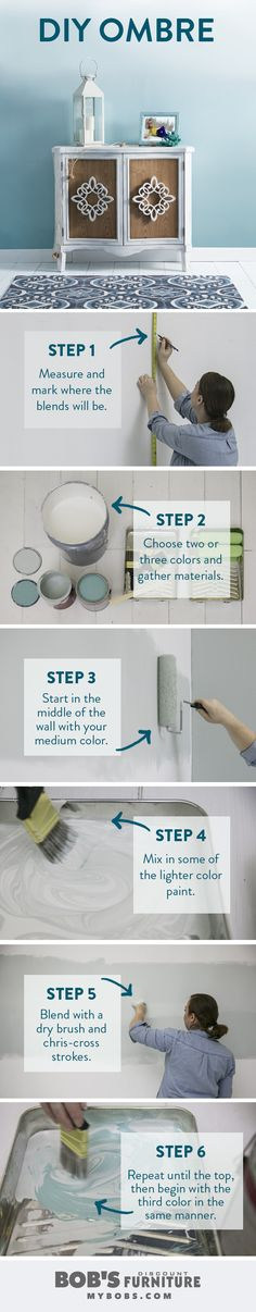 Love the wall color on the Coastal Cottage look? It's #ombre! Learn how to paint your own DIY Ombre Wall & see how it fits with the Coastal Cottage look at mybobs.com.