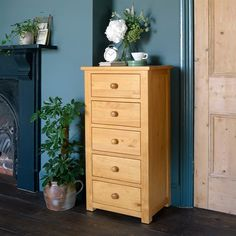 Oakley Pine Slim Jim 5 Drawer Chest - The Cotswold Company