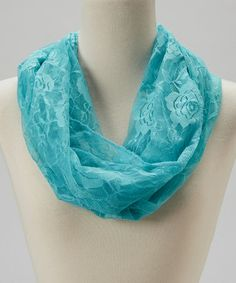 Loving this Light Blue Rose Lace Infinity Scarf on #zulily! #zulilyfinds