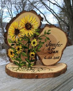 Sunflowers Gerbera Daisies Flowers Roots Leaves by JenniferLenoxVT sunflower wedding Sunflowers Custom Wedding Cake Topper, Rustic Wood Slices Wood Slice Crafts, Wood Burning Crafts, Wood Burning Art, Wood Crafts, Into The Woods, Rustic Wedding Cake Toppers, Wedding Rustic, Trendy Wedding, Fall Wedding