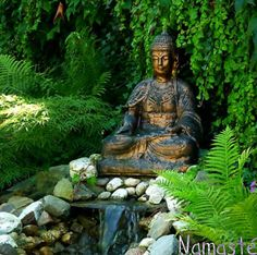 Water feature and Buddha - next to shed in corner at back of garden?