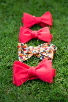Bright bowties: http://www.stylemepretty.com/destination-weddings/2014/10/27/colorful-tropical-destination-wedding-in-canggu-bali-at-chalina-estate/ | Photography: Veli Photo - http://veliphotography.com/