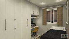 Dormitório de Solteiro / Office Branco e Linho Couro
