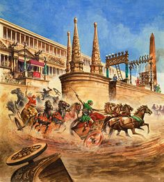 Chariot Racing at the Circus Maximus (Original) art by Peter Jackson Archive Ancient Rome, Ancient History, Pyramids Of Gizeh, Hannibal Barca, Chariot Racing, Circus Maximus, Marshal Arts, Stoner Art, Carthage