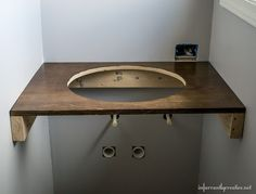 DIY Floating Wood Vanity - Infarrantly Creative